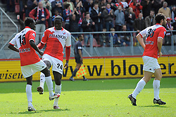 16-05-2010 VOETBAL: FC UTRECHT - RODA JC: UTRECHT<br /> FC Utrecht verslaat Roda in de finale van de Play-offs met 4-1 en gaat Europa in / Jacob Mulenga scoort de 3-1, Jacob Lenski en Nana Asare<br /> ©2010-WWW.FOTOHOOGENDOORN.NL