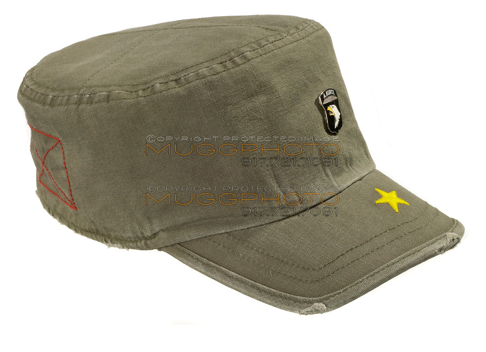 olive green military style hat with stitched yellow star and american eagle pin