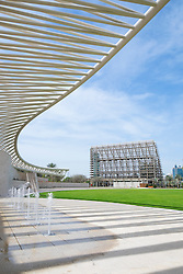 Amphitheatre and Shade House building at New Mushrif Central Park in Abu Dhabi United Arab Emirates