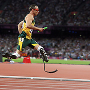 Disabled athlete Oscar Pistorius, South Africa, in action in the Men's 4 x 400m relay at the Olympic Stadium, Olympic Park, during the London 2012 Olympic games. London, UK. 10th August 2012. Photo Tim Clayton