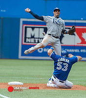 Aug 23, 2014; Toronto, Ontario, CAN; Toronto Blue Jays Melky Cabrera (53) slides in make second base while  Tampa Bay Rays second base Logan Forsythe (10) catches in ninth innings at Rogers Centre - Blue Jays won 5-4 in tenth innings Mandatory Credit: Peter Llewellyn-USA TODAY Sports