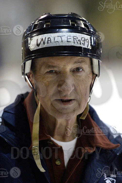 15 February 2004: Ice Hockey Player Walter Gretzky at the second annual Wayne Gretzky Hockey Fantasy Camp in Scottsdale, AZ.  Walter is 65 years old and is still skating and strongly participating in ice hockey despite his health problems. Father of the great one Wayne Gretzky.