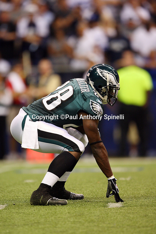 IRVING, TX - SEPTEMBER 15:  Running back Correll Buckhalter #28 of the Philadelphia Eagles gets set in a three point stance during the game against the Dallas Cowboys at Texas Stadium on September 15, 2008 in Irving, Texas. The Cowboys defeated the Eagles 41-37. ©Paul Anthony Spinelli *** Local Caption *** Correll Buckhalter