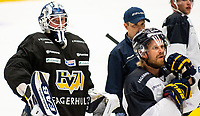 2018-08-04 | Jönköping, Sweden: HV71 (37) Jonas Gunnarsson during the HV71 ice premiere at Kinnarps Arena ( Photo by: Marcus Vilson | Swe Press Photo )<br /> <br /> Keywords: Ice Premiere, Season 2018/19, Sweden, SHL, Jönköping, Kinnarps Arena, Ice Hockey, HV71, , Jonas Gunnarsson, Goalie