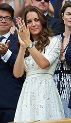 02.07.2014, All England Lawn Tennis Club, London, ENG, ATP Tour, Wimbledon, im Bild Catherine Middleton (Dutchess of Cambridge) applauds as Andy Murray is defeated during the Gentlemen's Singles Quarter-Final match on day nine // during the Wimbledon Championships at the All England Lawn Tennis Club in London, Great Britain on 2014/07/02. EXPA Pictures © 2014, PhotoCredit: EXPA/ Propagandaphoto/ David Rawcliffe<br /> <br /> *****ATTENTION - OUT of ENG, GBR*****