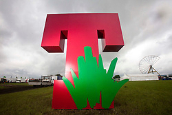 A T in the Park statue in the main arena at a photo-call for the T in the Park 2012, held at Balado, in Fife, Scotland..
