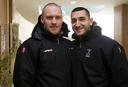 Miha Zvizej and Dragan Gajic of Slovenia Men Handball team 1st day of 10th EHF European Handball Championship Serbia 2012, on January 15, 2012 in Hotel Srbija, Vrsac, Serbia.  (Photo By Vid Ponikvar / Sportida.com)
