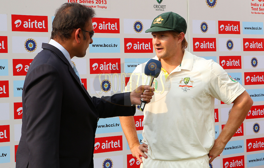 Ravi Shastri interviews Shane Watson of Australia after the match during day 3 of the 4th Test Match between India and Australia held at the Feroz Shah Kotla stadium in Delhi on the 24th March 2013..Photo by Ron Gaunt/BCCI/SPORTZPICS ..Use of this image is subject to the terms and conditions as outlined by the BCCI. These terms can be found by following this link:..http://www.sportzpics.co.za/image/I0000SoRagM2cIEc