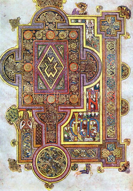 Opening words of St Luke's Gospel 'Quoniam'. 'Book of Kells' 6th century manuscript of the Four Gospels