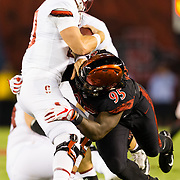 16September 2017: San Diego State Aztecs defensive lineman Noble Hall (95) sacks Stanford Cardinal quarterback Keller Chryst (10) in the first quarter. The Aztecs lead Stanford 10-7 at half time at San Diego Stadium. <br /> www.sdsuaztecphotos.com