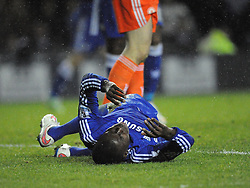 Chelsea Kurt Zouma falls to the floor, after being knocked out from Derbys Richard Keogh punch, Derby County v Chelsea, Capital One Cup Quarter Final, Score Derby 1(Bryson),  Chelsea 3 (Hazard, Luis, Schurrle) Pride Park Tuesday 16th December 2014