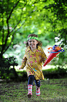 Isobel Clare, 3,  praticing her running at Breaks Manor on the day The Olympic Torch Relay passes through Hatfield, Herts,