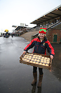 Plumpton, UK. 12th December 2016. <br /> Mince Pies are handed out to racegoers before the start of the race meeting.<br /> &copy; Telephoto Images / Alamy Live News
