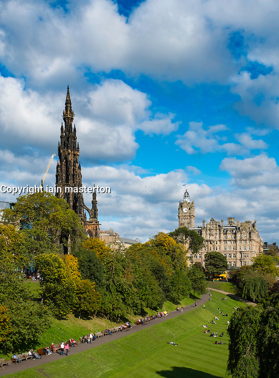 View across Princess Street Gardens to Scott Monument and the Balmoral Hotel  in Edinburgh, Scotland, United Kingdom.