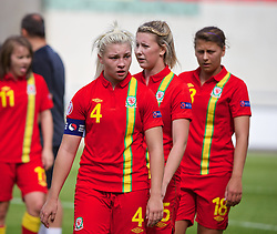 19.08.2013, Parcy Scarlets, Swansea, ENG, UEFA Damen U19 EM, Wales vs Daenemark, Gruppe A, im Bild Wales' captain Lauren Price looks dejected as her side lose 1-0 to Denmark during the UEFA women U 19 championchip group A match between Wales and Denmark at Parcy Scarlets in Swansea, Great Britain on 2013/08/19. EXPA Pictures &copy; 2013, PhotoCredit: EXPA/ Propagandaphoto/ David Rawcliffe<br /> <br /> ***** ATTENTION - OUT OF ENG, GBR, UK *****