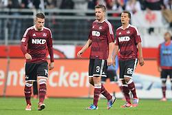 21.09.2012, easyCredit Stadion, Nuernberg, GER, 1. FBL, 1. FC Nuernberg vs Eintracht Frankfurt, 4. Runde, im Bild Robert MAK (1.FC Nuernberg), Per NILSSON (1.FC Nuernberg) und Timothy CHANDLER (1.FC Nuernberg)(v.l.n.r.) frustriert nach dem Gegentor zum 0:2 durch Takashi INUI (Eintracht Frankfurt/ nicht im Bild). // during the German Bundesliga 4th round match between 1. FC Nuernberg and Eintracht Frankfurt at the easyCredit Stadium, Nuernberg, Germany on 2012/09/21. EXPA Pictures © 2012, PhotoCredit: EXPA/ Eibner/ Matthias Merz..***** ATTENTION - OUT OF GER *****