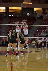 31 Aug 2010:  Tabitha Visk and Shannon McGlaughlin anticipate a block on a shot by the Ramblers. The Illinois State Redbirds trumped the Rambles of Loyola-Chicago 3 sets to none at Redbird Arena on the campus of Illinois State University in Normal Illinois.