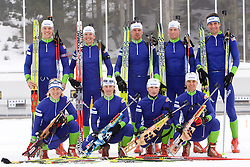 Vid Voncina, Tadeja Brankovic Likozar, Peter Dokl, Andreja Mali, Janez Maric, Dijana Grudicek Ravnikar, Klemen Bauer, Teja Gregorin, Vasja Rupnik of Slovenian biathlon team before new season 2009/2010,  on November 16, 2009, in Pokljuka, Slovenia.   (Photo by Vid Ponikvar / Sportida)