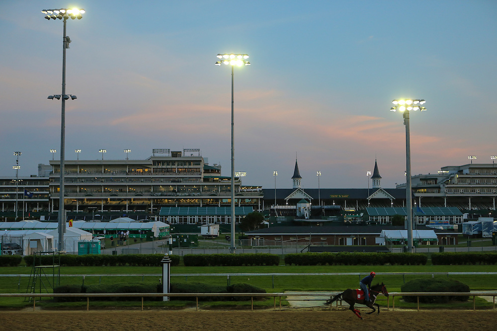 LOUISVILLE, KY - MAY 7:  A horse crosses in front of the twin spires during morning workouts prior to the running of the 142nd Kentucky Derby at Churchill Downs on May 7, 2016 in Louisville, Kentucky. (Photo by Michael Reaves/Getty Images)