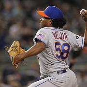 Jenrry Mejia, New York Mets, pitching during the New York Yankees V New York Mets, Subway Series game at Yankee Stadium, The Bronx, New York. 12th May 2014. Photo Tim Clayton