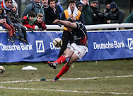 Dan Newton of London Scottish scores a conversion during the Green King IPA Championship match between London Scottish &amp; Bristol at Richmond, Greater London on 7th February 2015<br /> <br /> Photo: Ken Sparks | UK Sports Pics Ltd<br /> London Scottish v Bristol, Green King IPA Championship, 7th February 2015<br /> <br /> &copy; UK Sports Pics Ltd. FA Accredited. Football League Licence No:  FL14/15/P5700.Football Conference Licence No: PCONF 051/14 Tel +44(0)7968 045353. email ken@uksportspics.co.uk, 7 Leslie Park Road, East Croydon, Surrey CR0 6TN. Credit UK Sports Pics Ltd