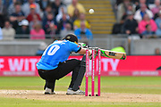 Luke Wright of Sussex ducks under a Jamie Overton of Somerset short ball during the Vitality T20 Finals Day Semi Final 2018 match between Worcestershire Rapids and Lancashire Lightning at Edgbaston, Birmingham, United Kingdom on 15 September 2018.
