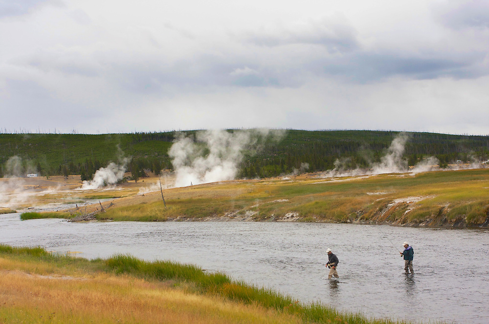 Fisherman and guide on the Yellowstone River, within the boundaries of the park.