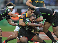 CAPE TOWN, SOUTH AFRICA - Saturday 11 July 2015, Damian de Allende of South Africa tackles Steffon Armitage of the WorldXV during the rugby test match between South Africa (Springboks) and the Word XV at Newlands Rugby stadium.<br /> Photo by Luigi Bennett / ImageSA