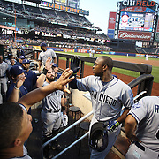 Justin Upton, San Diego Padres, is congratulated by team mates as he returns to the dugout after hitting a home run during the New York Mets Vs San Diego Padres MLB regular season baseball game at Citi Field, Queens, New York. USA. 29th July 2015. Photo Tim Clayton