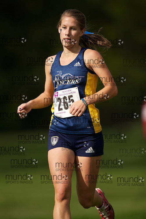 London, Ontario ---12-09-22--- Samantha Kellam of the Windsor Lancers competes at the Western International Cross Country Invitational in London, Ontario, September 22, 2012..GEOFF ROBINS Mundo Sport Images