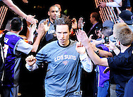 Mar. 08, 2012; Phoenix, AZ, USA; Phoenix Suns guard Steve Nash (13) runs out of the tunnel prior to a game against the Dallas Mavericks at the US Airways Center. Mandatory Credit: Jennifer Stewart-US PRESSWIRE..