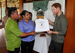 Prince Harry visits the Iwokrama International Centre in the Hinterland on day 13 of an official visit to the Caribbean in Sumara, Guyana.