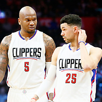 04 December 2016: LA Clippers center Marreese Speights (5) is seen next to LA Clippers guard Austin Rivers (25) during the Indiana Pacers 111-102 victory over the LA Clippers, at the Staples Center, Los Angeles, California, USA.