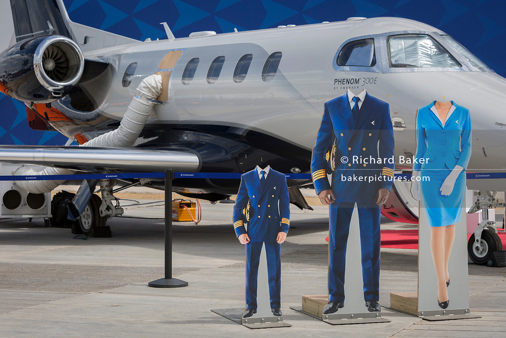 Headless cut-outs for visisors at the Embraer exhibit at the Farnborough Airshow, on 16th July 2018, in Farnborough, England. (Photo by Richard Baker / In Pictures via Getty Images)