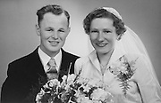 old photo of groom and bride early 1950s