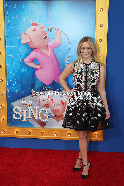 "Actress Reese Witherspoon attends the premiere of Universal Pictures ""Sing"" at Microsoft Theater at L.A. Live, Los Angeles, on December 3, 2016"