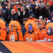 Denver Broncos fans react during the Denver Broncos vs Pittsburgh Steelers, NFL Divisional Round match at Authority Field at Mile High, Denver, Colorado.  17th January 2016. Photo Tim Clayton