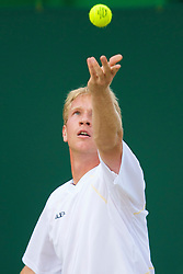 LONDON, ENGLAND - Saturday, June 28, 2008: Lukas Dlouhy (CZE) during her mixed doubles second round match on day six of the Wimbledon Lawn Tennis Championships at the All England Lawn Tennis and Croquet Club. (Photo by David Rawcliffe/Propaganda)