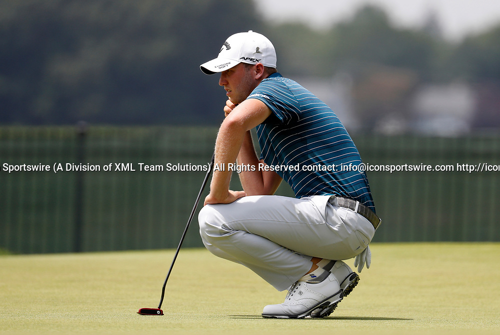 CROMWELL, CT - JUNE 23: Daniel Berger looks over his putt on 8 during the second round of the Travelers Championship on June 23, 2017, at TPC River Highlands in Cromwell, Connecticut. (Photo by Fred Kfoury III/Icon Sportswire)