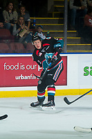 KELOWNA, CANADA - SEPTEMBER 22: Lassi Thomson #2 of the Kelowna Rockets passes the puck against the Kamloops Blazers  on September 22, 2018 at Prospera Place in Kelowna, British Columbia, Canada.  (Photo by Marissa Baecker/Shoot the Breeze)  *** Local Caption ***
