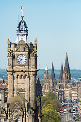View of clocktower on Balmoral Hotel on Princes Street in Edinburgh, Scotland, UK.