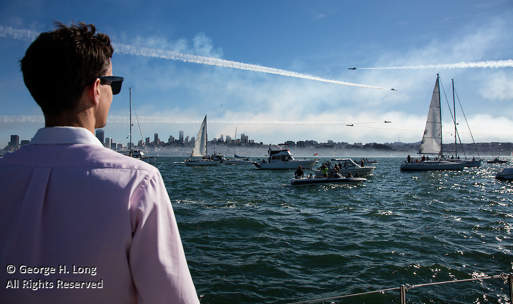 Williston 'Trey' Dye III enjoys an aerial performance by the Blue Angels over San Francisco Bay