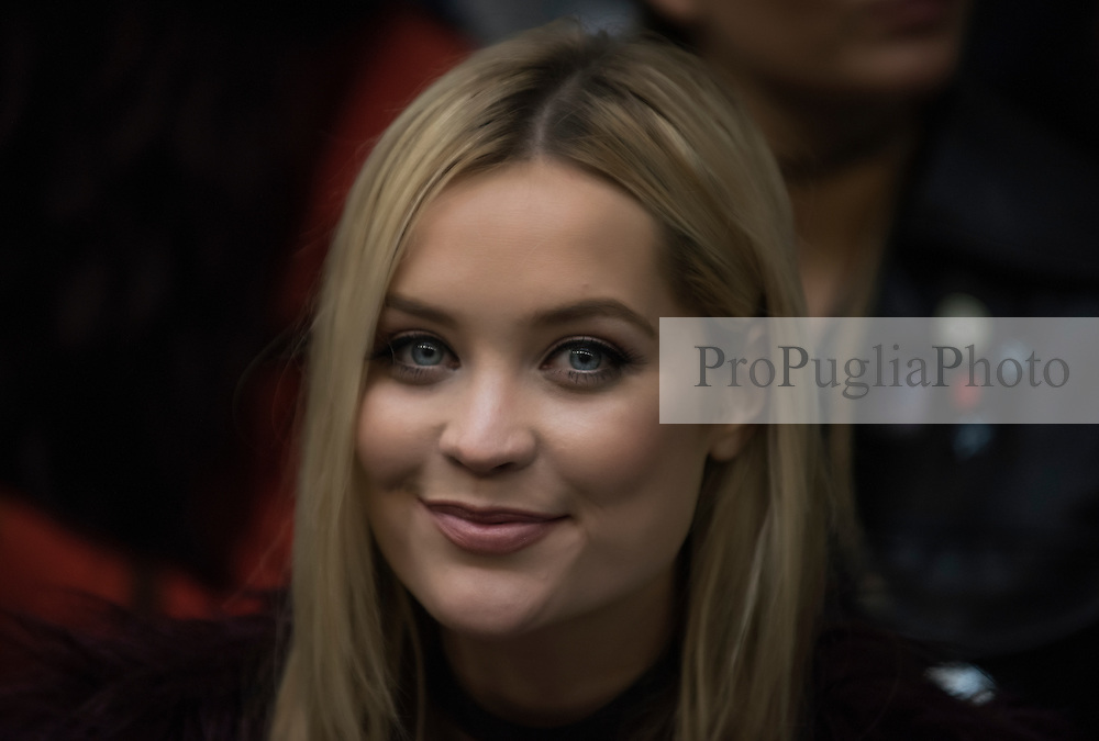 Laura Whitmore At London Fashion Week AW16 during Holly Fulton Presentation