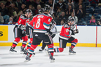 KELOWNA, CANADA - NOVEMBER 21: Tyson Baillie #24, Jesse Lees #2 and Colten Martin #8 of the Kelowna Rockets celebrate a goal against the Portland Winterhawks on November 21, 2014 at Prospera Place in Kelowna, British Columbia, Canada.  (Photo by Marissa Baecker/Shoot the Breeze)  *** Local Caption *** Tyson Baillie; Colten Martin; Jesse Lees;