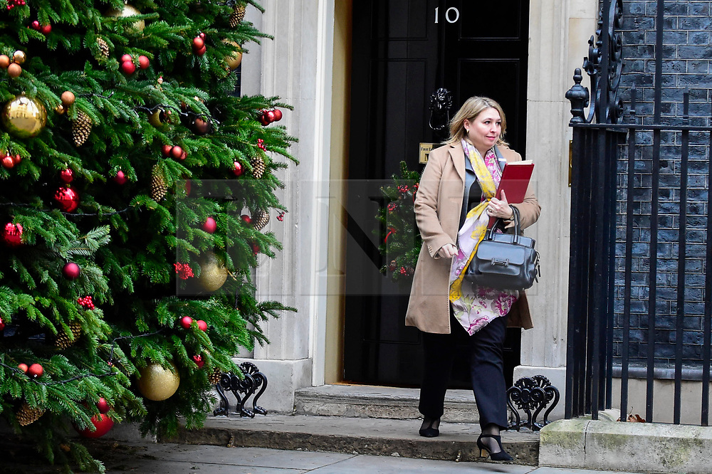 © Licensed to London News Pictures. 04/12/2018. LONDON, UK. Karen Bradley MP, Secretary of State for Northern Ireland, leaves the weekly Cabinet Meeting at Number 10 Downing Street in London, Britain, on December 4, 2018.  John Bercow, Speaker of the House, has stated that the government may be in contempt of Parliament for declining to release its full legal advice on Britain's exit from the European Union.  This issue is to be debated in the House of Commons after the Cabinet Meeting and will delay the start of MP's debating Theresa May's Brexit agreement with the European Union, ahead of their vote on December 11.  Photo credit: Stephen Chung/LNP