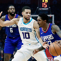 31 December 2017: LA Clippers guard Lou Williams (23) drives past Charlotte Hornets guard Michael Carter-Williams (10) during the LA Clippers 106-98 victory over the Charlotte Hornets, at the Staples Center, Los Angeles, California, USA.