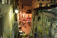 France. Paris 18th; mural art. Montmartre stairs, Rue drevet at night