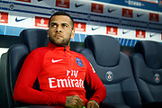 Paris Saint Germain's Brazilian defender Dani Alves sits before the French championship L1 football match between Paris Saint-Germain (PSG) and Saint-Etienne (ASSE), on August 25, 2017 at the Parc des Princes in Paris, France - Photo Benjamin Cremel / ProSportsImages / DPPI