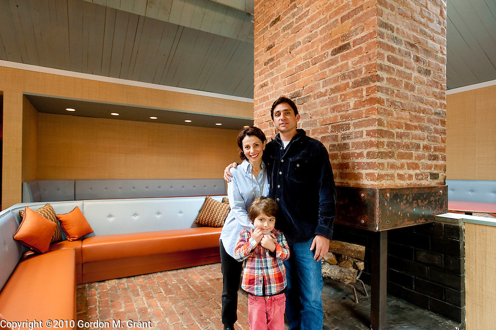 East Hampton, NY - 5/14/10 -  Chef Jay Plumeri and his wife Rowaida, and son Jackson, in their new restaurant, Race Lane (the former Laundry)  in East Hampton, NY May 14, 2010.  (Photo by Gordon M. Grant)