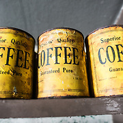 Yellow tins of coffee stand on a shelf at Wordie House. Originally known as Base F and later renamed after James Wordie, chief scientist on Ernest Shackleton's major Antarctic expedition, Wordie House dates to the mid-1940s. It was one of a handful of bases built by the British as part of a secret World War II mission codenamed Operation Tabarin. The house is preserved intact and stands near Vernadsky Research Base in the Argentine Islands in Antarctica.